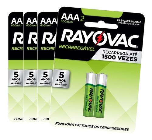 8 Pilhas Recarregável Econômica Rayovac Aaa 600 Mah