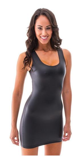 Vestido Corto Transfer Vinilo Negro Lycra Brilloso