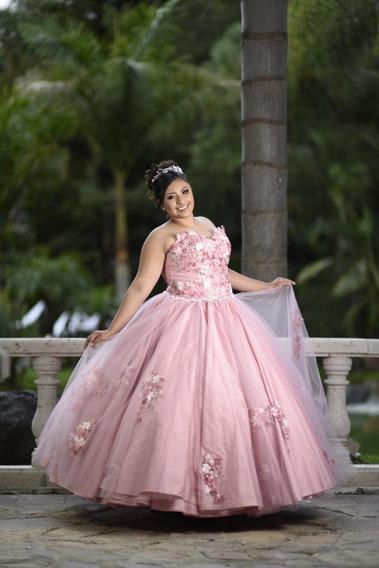 Vestido Xv Años Rosa Palo Usado Casi Nuevo