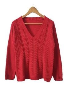 Sweater De Lana - Pullover De Mujer Escote En V