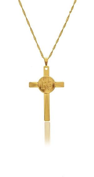 Pingente Medalha Crucifixo Fé Banhado Ouro 18k Com Corrente