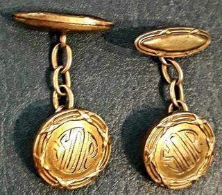 Antiguo Par Gemelos Camisa Bronce Dorado 15 Mm Iniciales Sop