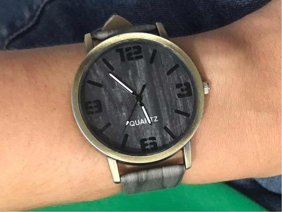 Relógio De Pulso Cor Madeira Cinza Casual Quartz
