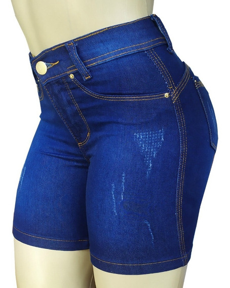 Kit 3 Short Jeans Feminino Cós Alto Meia Coxa