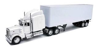 Peterbilt 379 Con Camioneta De Juguete Dry Van All White!