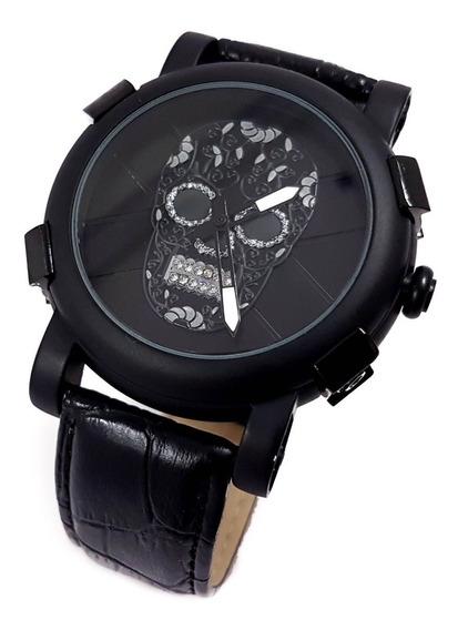 Reloj Caballero Calavera Catrin Cristales Negro
