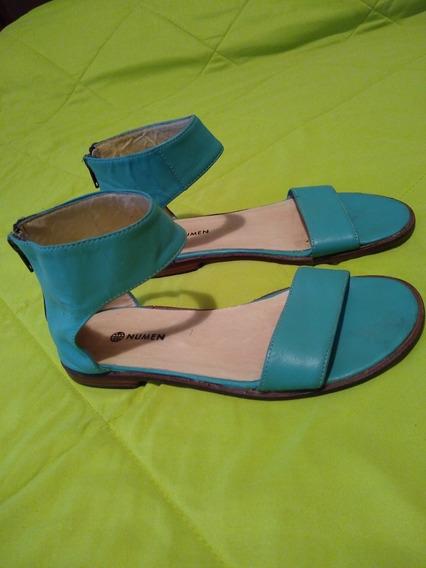 Sandalias De Cuero Verde C/ Pulsera En El Tobillo, Talle 37