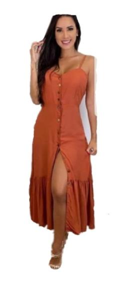 Vestido Longo Com Botão Alça Regulável E Bojo Moda Verão
