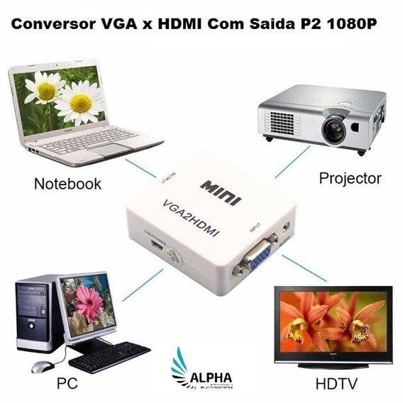 Adaptador Conversor Vga X Hdmi C/ Saída De Áudio P2 (20014)