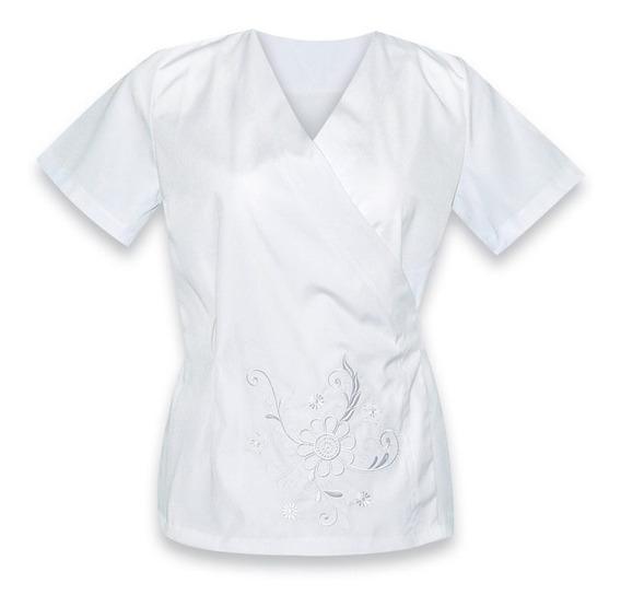 Uniforme De Enfermeria Cruzado Para Dama Con Bordado K09