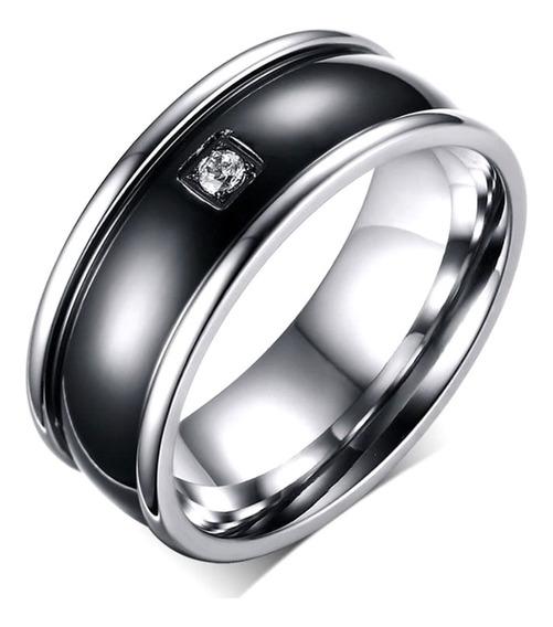 Anel Aliança Masculino Aço Titânio Quartzo Diamante 601 \