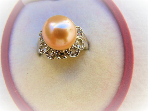 Anillo Perla Cultivada Color Melon 8