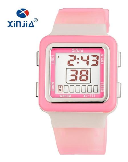 Relógio Feminino Xinjia Fitness Digital Rosa Prova De Água