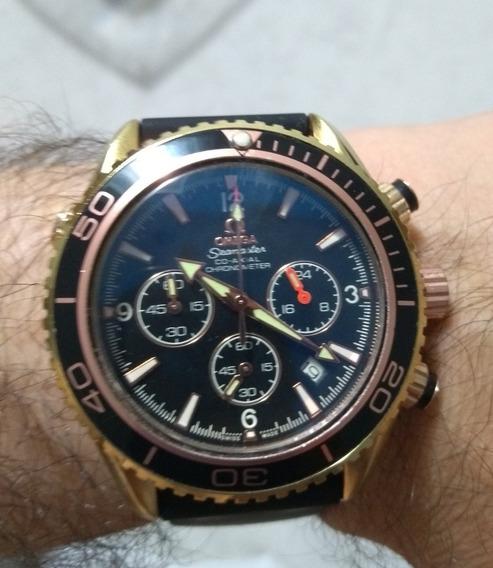 Relógio Omega Seamaster Dourado Com Rose Quartz