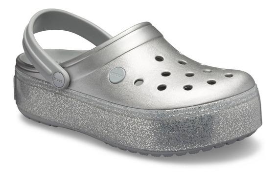 Crocs Crocband Platform Metallic - Silver