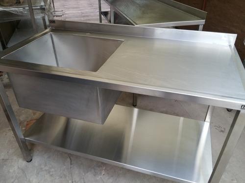 Mesada Bacha Industrial Gastronomia 1.4m Con Estante Fabrica