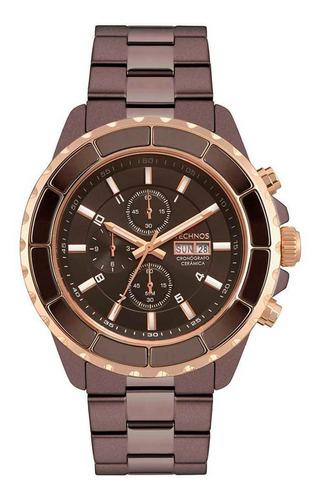 Relógio Masculino Technos Os00ad/5m Ceramic Marrom