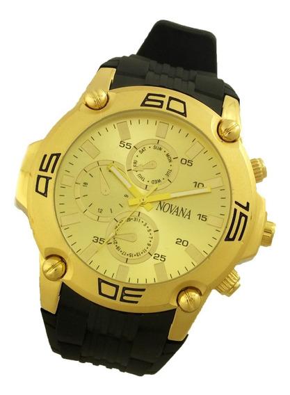 Relógio De Pulso Masculino Novana Pulseira Em Borracha B5724