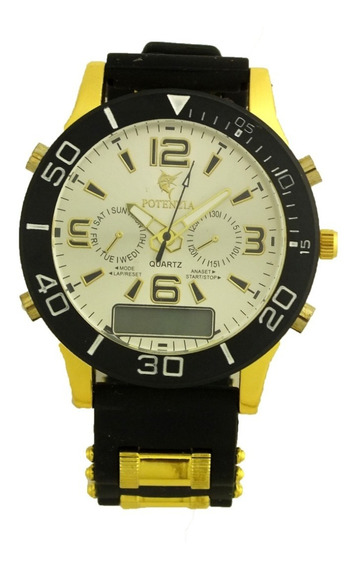 Elegante Relógio Pulso Masculino Potenzia Fundo Prata B5669