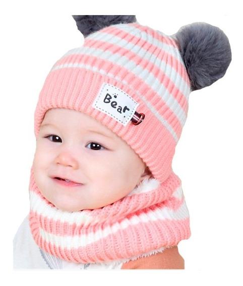 Lindo Gorro Tejido Otoño Invierno Bebé Pompones