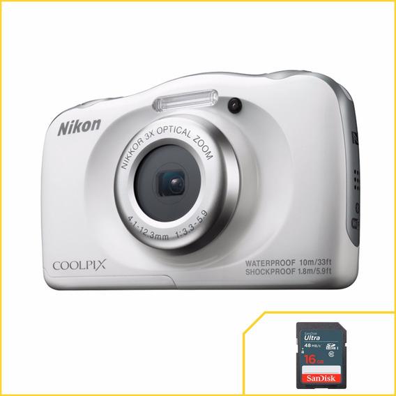Câmera Nikon Wifi Coolpix W100 Branca À Prova D