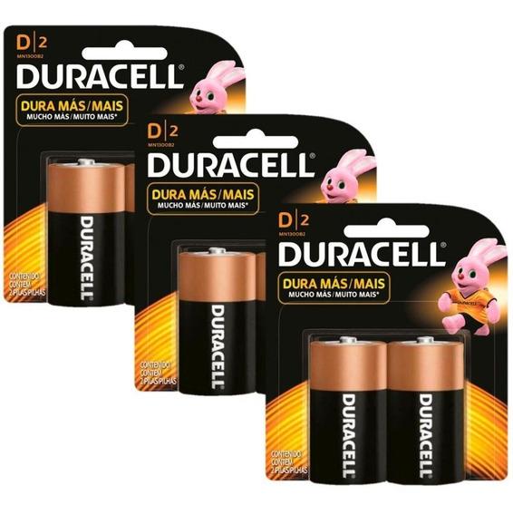 Kit Duracell Pilha Alcalina D Com 6 Unidades