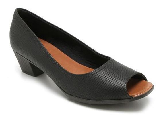 Sapato Peep Toe Usaflex Aa2802 Couro Salto Grosso