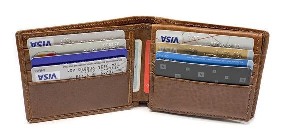 Billetera Hombre Cuero Volante Capacidad Para 12 Tarjetas Porta Documentos Pesos Euros Dolares Modelo 0078