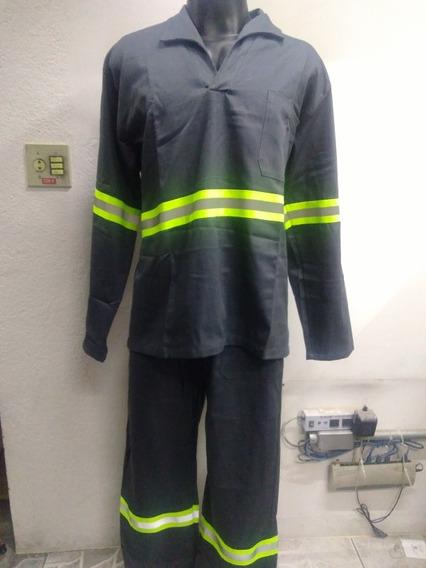 Uniforme Calça E Camisa Brim Faixa Refletiva - 25 Conjuntos