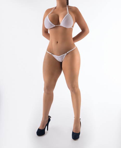 Bikini Tanga Muy Sexy Dama Playa Se Transparenta Al Mojarse