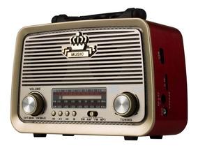Rádio Retrô Plugx Am Fm Sw Usb Bateria Recarregável - 9777