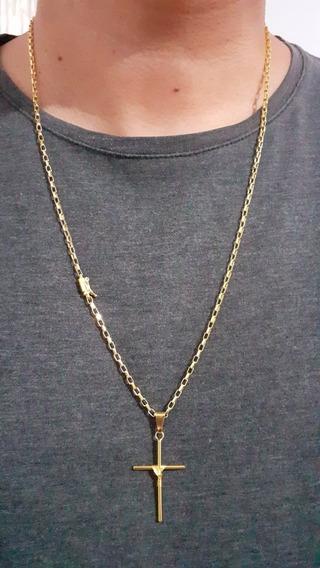 Cordão Tijolinho 3mm 70cm + Pingente Banhado A Ouro 18k