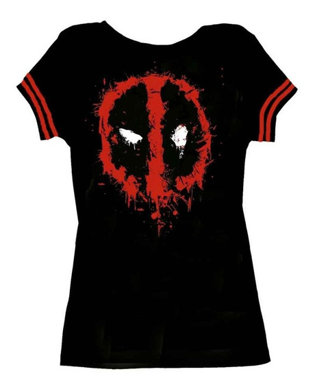 Remera Marvel Deadpool Logo Dama Cinta En Manga Accoriginals