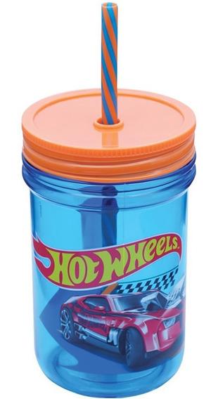 Caneca Infantil Com Canudo Hot Wheels Zippy Toys