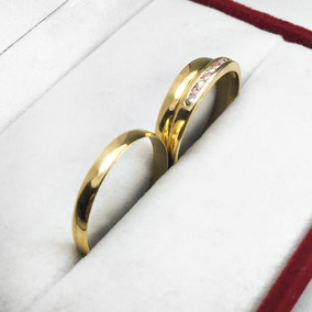 e4a1d7e1566f Par Alianzas + Anillo Oro 18k 3.2 Gr Casamiento Compromiso