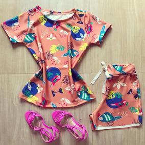 Conjunto Feminino Shorts E T-shirt