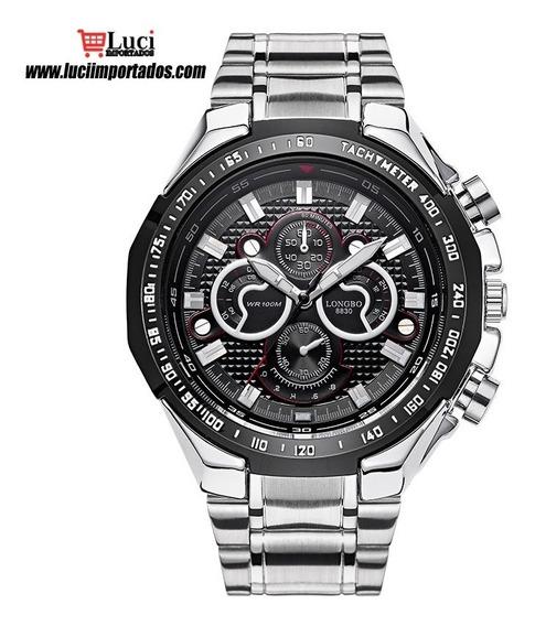 Longbo Modelo Masculino De Aço Inoxidável Relógios De Movime
