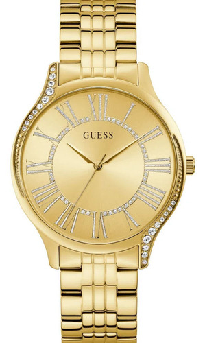Relógio Guess Feminino Dourado Strass Gw0024l2