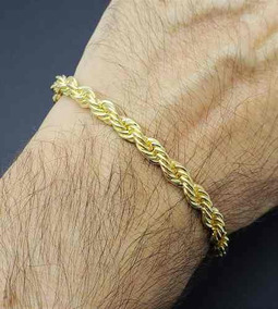 Pulseira Masculina Cordão Baiano 6.0 23cm Banh Ouro 18k 2354