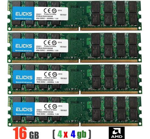 Imagem 1 de 10 de Memória Ddr2 800mhz 16gb (4 X 4gb) Apenas Para Amd