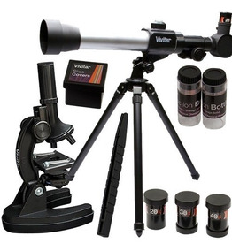 Kit Telescópio Microscópio 120x + Tripé Vivitar Vivtelmic20