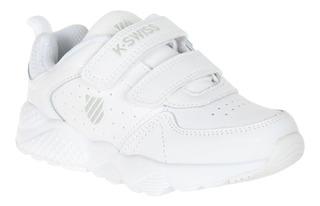 Tenis Niño Niña K-swiss Escolar Blanco Velcro Comodo Piel