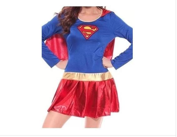 Disfraz Vestido Capa Cosplay Halloween Mujer Supergirl