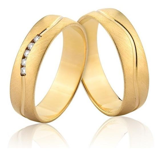 Par Alianças 5,5mm Pedras Ouro Escovado Puro 10k Al337