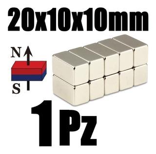 1 Iman Neodimio 20mm X 10mm X 10mm Super Potente N52 Xto