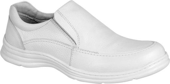 Sapato Masculino Ortopédico Branco Com Palmilha Em Gel2711/5
