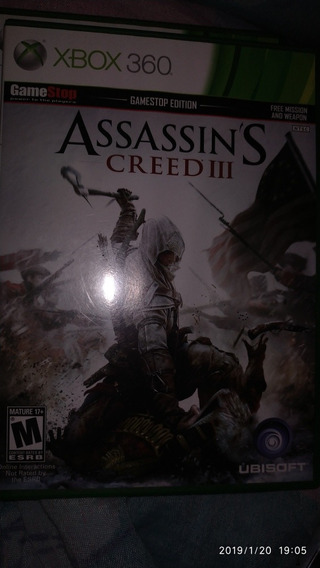 Assassins Creed Iii - Xbox 360!!! Mídia Física, Original!!!
