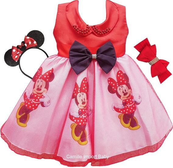 Vestido Festa Luxo Minnie Vermelha Saia Brilho E Faixa Tiara