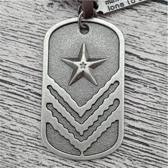 Cordão Colar 1 Plaquinha + Pingentes Identificação Militar