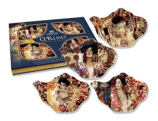Set De 4 Platos Klimt Bolsa De Te En Cristal 13.8...